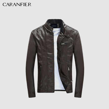 CARANFIER Mens PU Jackets Coats Motorcycle Biker Faux Leather Jacket Men Autumn Winter Clothes Male Classic Thick Velvet Coat - DISCOUNT ITEM  27% OFF All Category