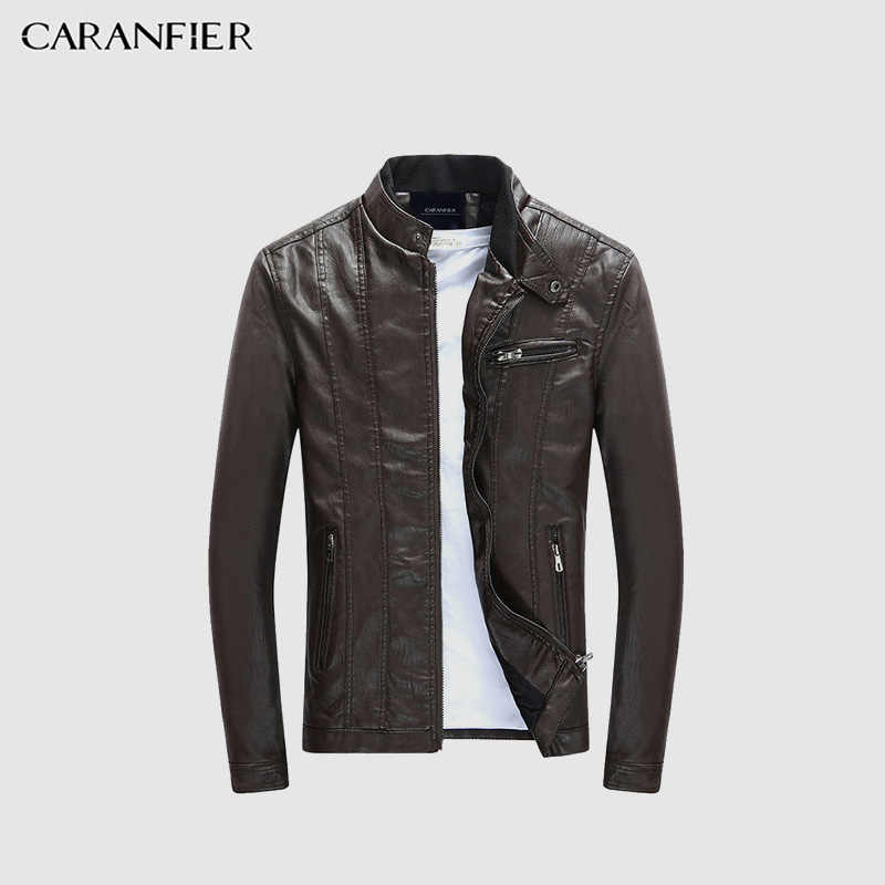 1b14a4ae4 CARANFIER Mens PU Jackets Coats Motorcycle Biker Faux Leather Jacket ...