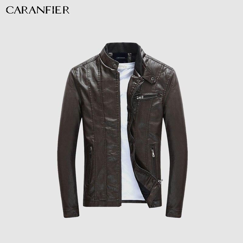 CARANFIER hombres PU chaquetas cuero de la motocicleta chaquetas hombres Otoño de primavera ropa de cuero masculino Casual abrigos ropa 3XL