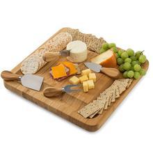 Китайская натуральная бамбуковая доска для сыра со столовыми приборами, тарелка для приготовления мяса с выдвижным ящиком с 4 ножом