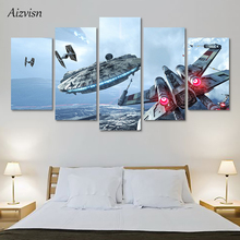 Aizvisn 5 Piece Star Wars Movie Poster HD Printed Modular Wall Painting Home Decoration for Living Room