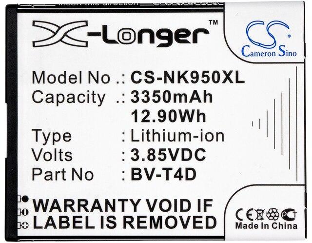 Cameron Sino High Quality 3350mAh Battery BV-T4D for Nokia Cityman, Lumia 950 XL, Lumia 950 XL Dual SIM