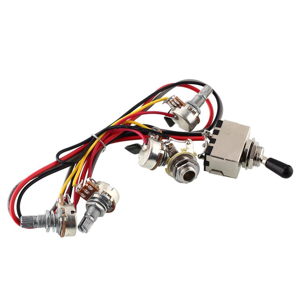Wiring Harness 2v 2t 3 Way Pickups Toggle Switch 500k Pots For Pickup Guitar Dual Humbucker Lp Replacement New In From Home Improvement On