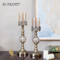 European Candlestick Ornaments Retro Metal Iron Art Crystal Glass Romantic Candlelight Dinner Table Decorations