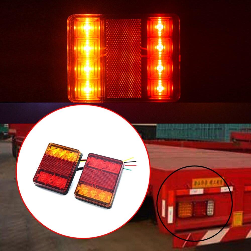 2Pcs 8 LEDS Car Truck Rear Tail Warning Light Warning Lights Waterproof Trailer Taillights  for Trailer Truck Boat DC 12V 2pcs truck light 4 leds lamp