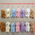 4.5cm 50pcs Mini Joint Bear Long Plush Toys Lovely Teddy Bear with Leather Feet Dolls DIY Party Birthday Decor