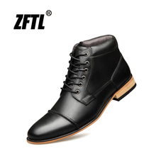 ZFTL New Men Martin boots Handmade men shoes Genuine Leather Men Ankle boots Lace-up male casual high-top boots big size   004 mycolen new 2018 high top martin boots luxury fashion fashion leather men boots ankle motorcycle boots for male men shoe
