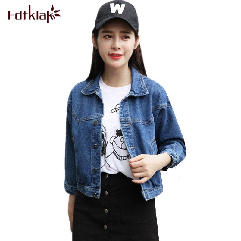 Fdfklak Student's denim   jacket   slim short   basic     jacket   for women spring autumn woman denim coat ladies jeans   jackets