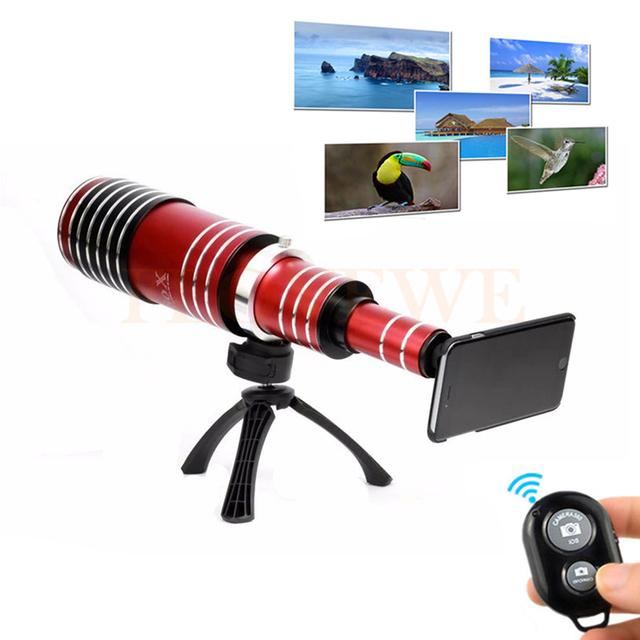 80x de metal teléfono teleobjetivo telescopio de la lente lentes de cámara + trípode + soporte para teléfono + bluetooth control remoto disparador para iphone 5 6 6 s 7