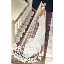 Лучшие продажи, дешевые, Длинная свадебная вуаль с аппликацией,, Veu De Noiva Longo, свадебная вуаль, кружевная, фиолетовая