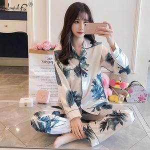 Image 5 - Pijamas de M 5XL de talla grande para mujer, top de seda satinado + Pantalones largos, conjunto de noche