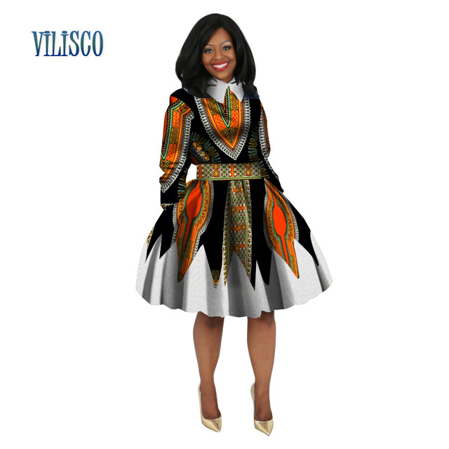 02de12ccf92 Casual Peter Pan Collar Print Lace Dresses Bazin Riche 2018 African Print  Dresses for Women Traditional African Clothing WY3044