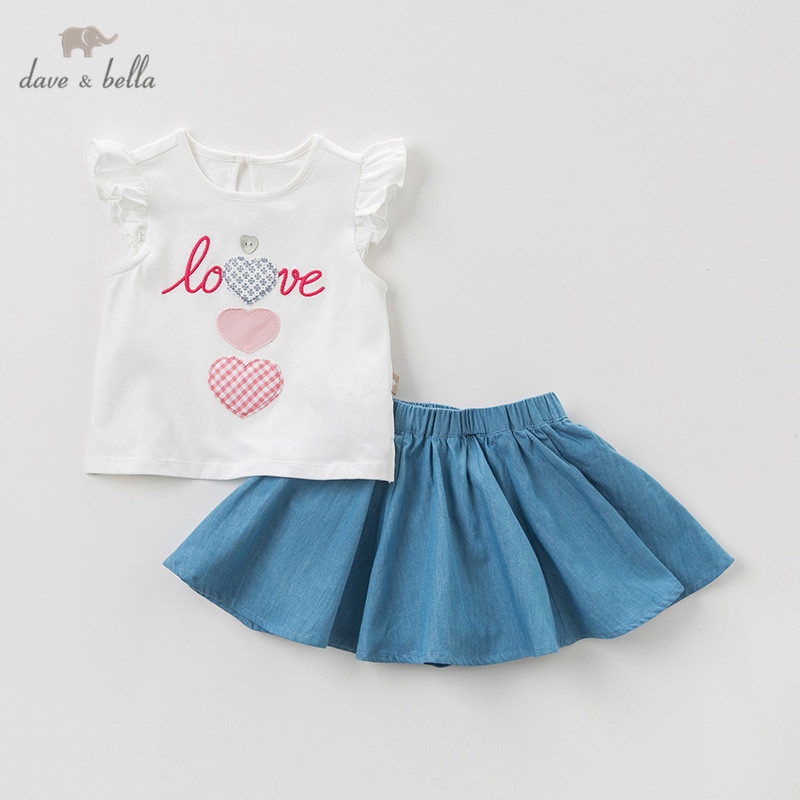 DB10513 Dave bella summer baby girl clothing sets children cartoon suits infant high quality clothes girls