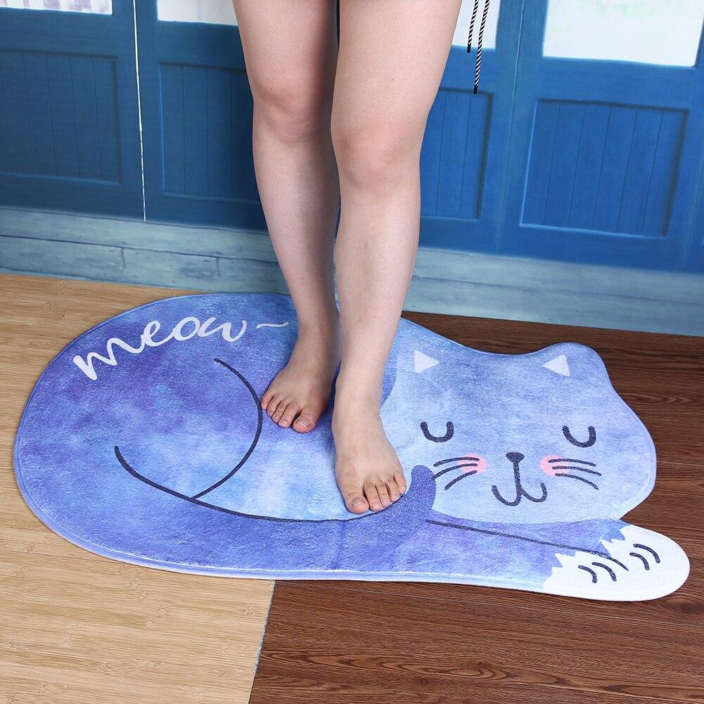 Kawaii Welcome Floor Mats Animal Cat Printed Bathroom Kitchen Carpets Doormats Cat Floor ...