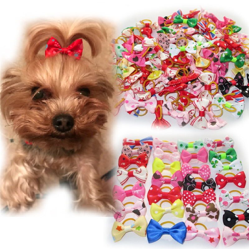 20PCS Lot Dog Hair Bows with Rubber Bands font b Pet b font Cat Loverly Grooming