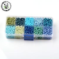 Mixed Pearlized Round Glass Pearl Beads Mixed Color 6mm Hole 1mm About 600pcs Box