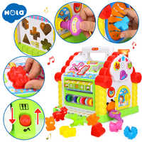 Kids Fun Tree House Activity Cube Toy Learning Cottage with Music & Lights & Learning Games & Animal Shape Cubes Educational Toy