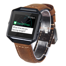 Genuine Leather Watch Band For Fitbit Blaze Replacement Band + Metal Frame Wrist Strap for Fitbit Blaze