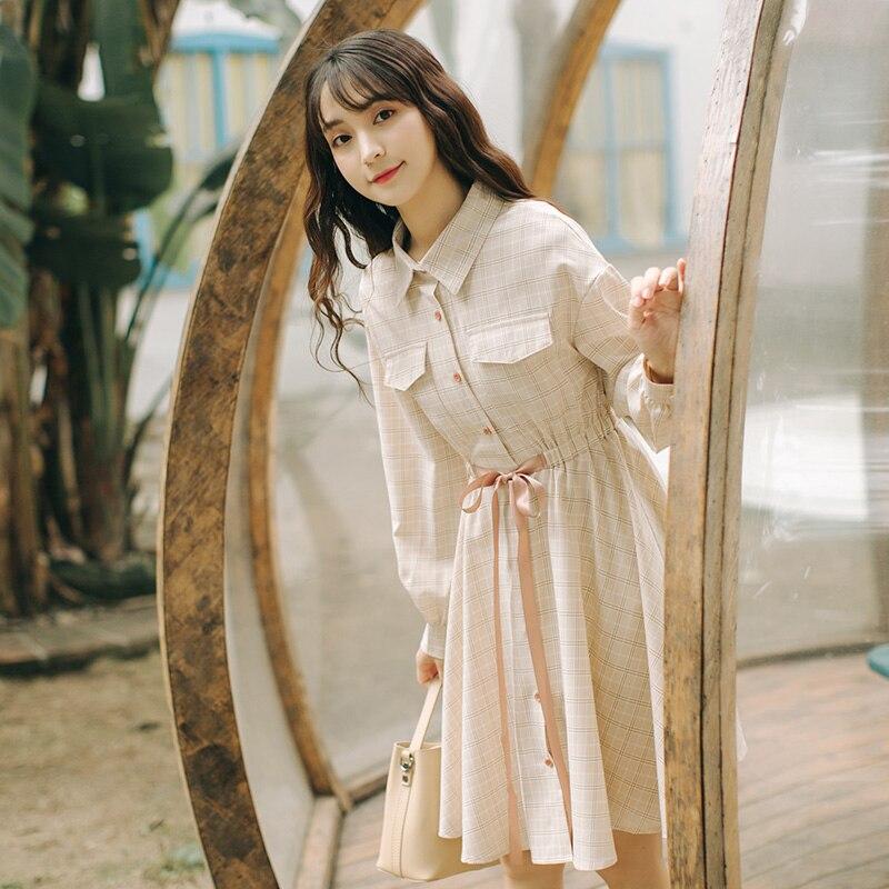2019 new spring and autumn dress fairy super fairy sweet waist art small fresh plaid dress blouse