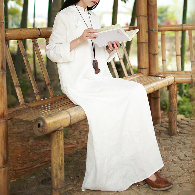 LZJN Long Sleeve White Dress Spring Fall Women Maxi Dresses Vintage Chinese Cheongsam Linen Qipao Robe Femme Vestido 77026