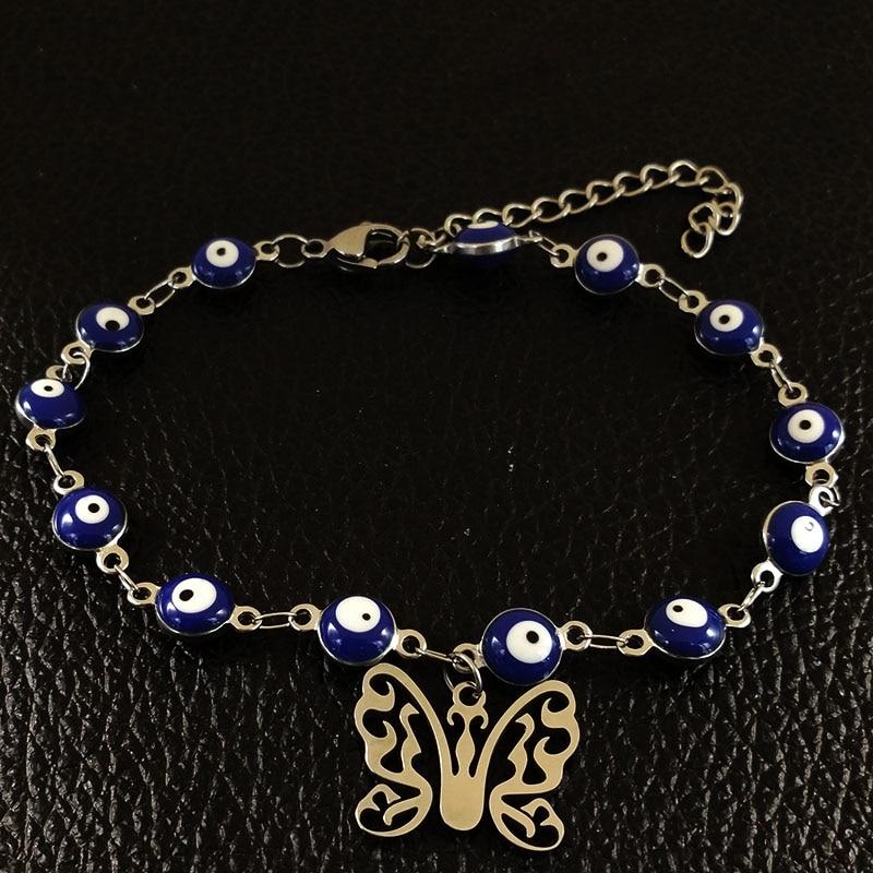 2019 Butterfly Stainless Steel Charm Bracelets Women Silver Color Islam Evil Eye Bracelet Jewelry pulseras mujer moda B17918