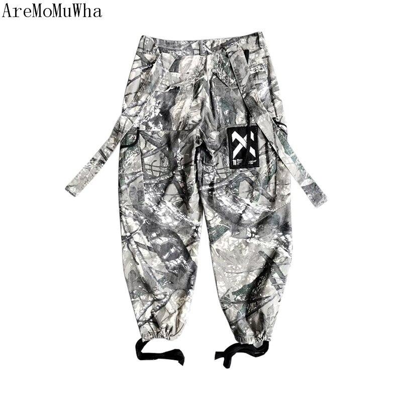 AreMoMuWha Brindilles d'encre camouflage Ninja salopette hommes lâche hip hop street fashion pantalon Harlan faisceau pantalon marée Haute rue pantalon