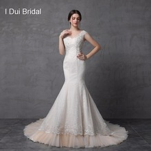 Mermaid Backless Wedding Dresses Pearl Crystal Beaded Lace Cap Sleeve Cathedral Train Sexy Style Real Custom Make ST2154