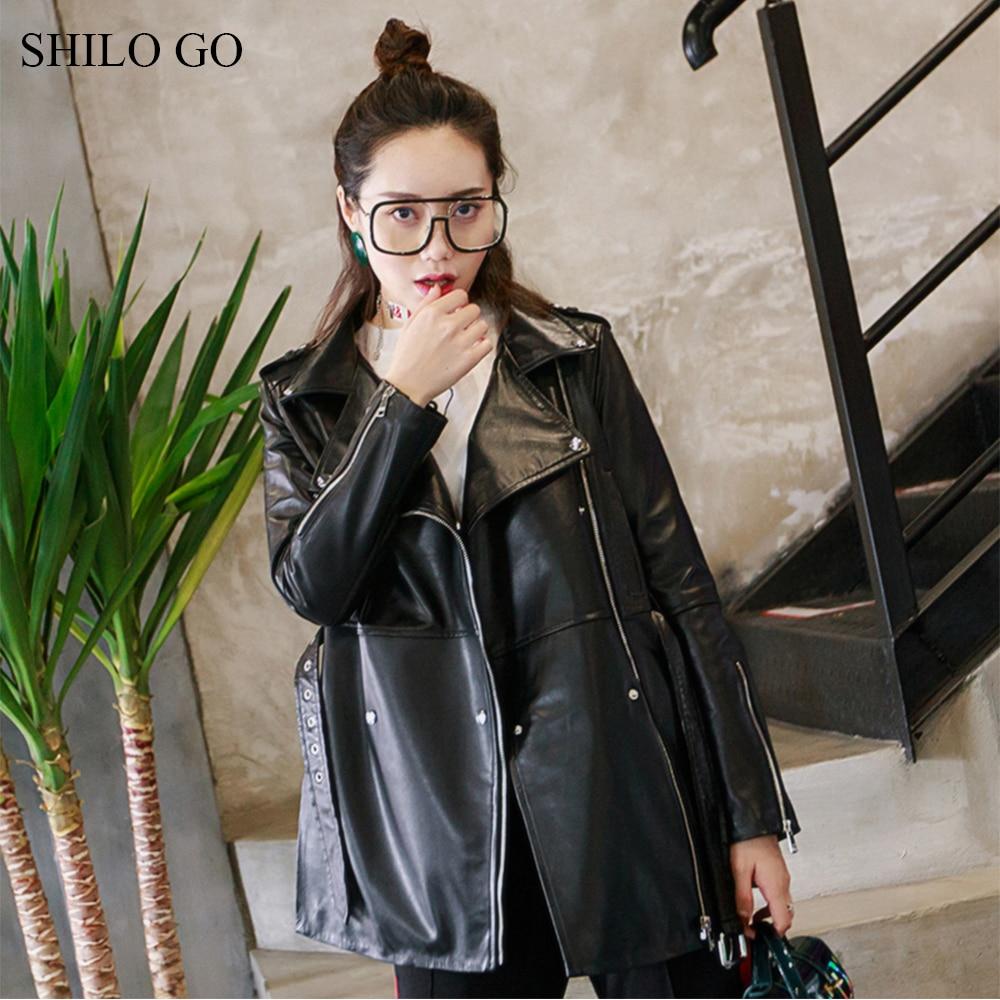SHILO GO Leather Jacket Womens Spring Fashion sheepskin genuine leather coat lapel collar zipper loose belt locomotive coat