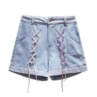 Plus size 4XL shorts jeans women 2019 summer high waist cross lace up Denim shorts casual szorty damskie short mujer w610