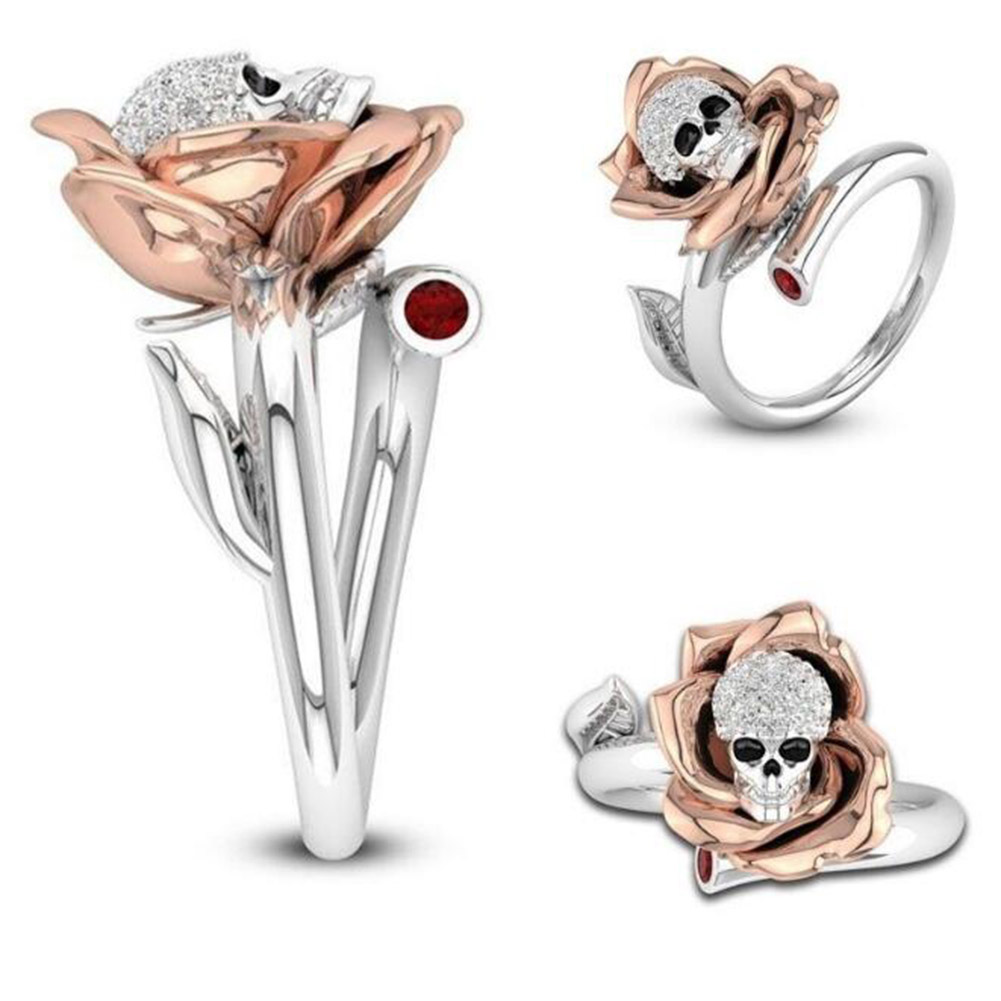 New Fashion Skull Womens Ring Stainless Steel Rings Charm Female Rose Rings(China)