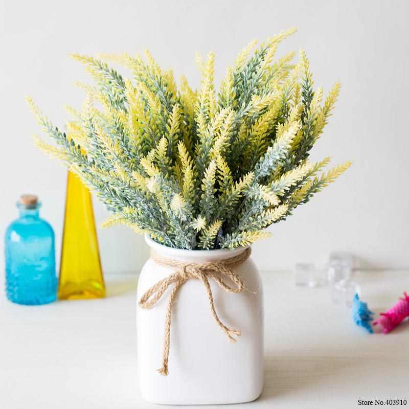 25 capi/Bouquet Provence Romantico Fiore Artificiale Viola di Lavanda Bouquet con Foglie Verdi per la Casa Decorazioni Del Partito