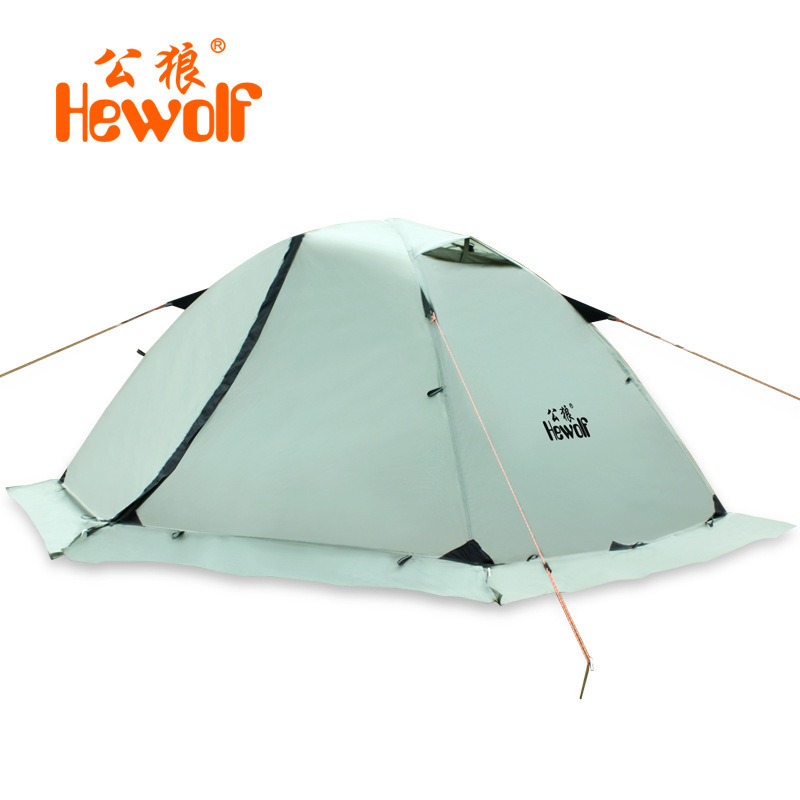 Hewolf super strong double layer aluminum pole 2 person waterproof ultralight tent with snow skirt/4season better use in winter good quality flytop double layer 2 person 4 season aluminum rod outdoor camping tent topwind 2 plus with snow skirt