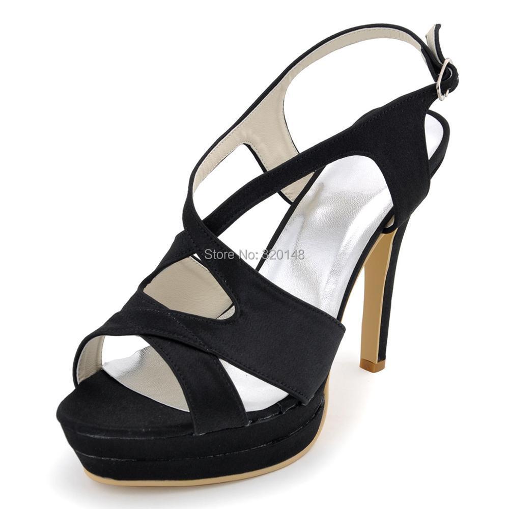 ФОТО Women Sandals EP2080-2PF Black High Heel Platform Cross Strap Sandals Satin Bride Bridesmaid Party Dress Pumps Wedding Shoes
