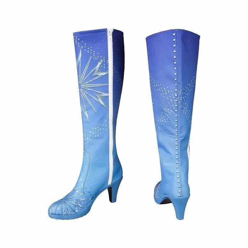 Königin Elsa Kostüm Schnee Eis Prinzessin Anna Erstarrte 2 Kostüm Cosplay Erwachsene Schuhe Stiefel Halloween Kniehohen high Heel mädchen Benutzerdefinierte
