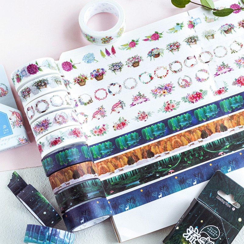 1.5cm X 7 m Mystery serie Beautiful flower Secret forest washi tape children diy decor masking tape stationery scrapbooking tool