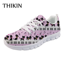 THIKIN Piano with Music Note Casual Brand Women Flats Shoes Autumn Ladies Lovely