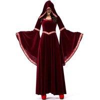 Halloween Blood Red Vampire Wizard Costume Restore Ancient Hooded Dress With Big Sleeve Velvet Dress
