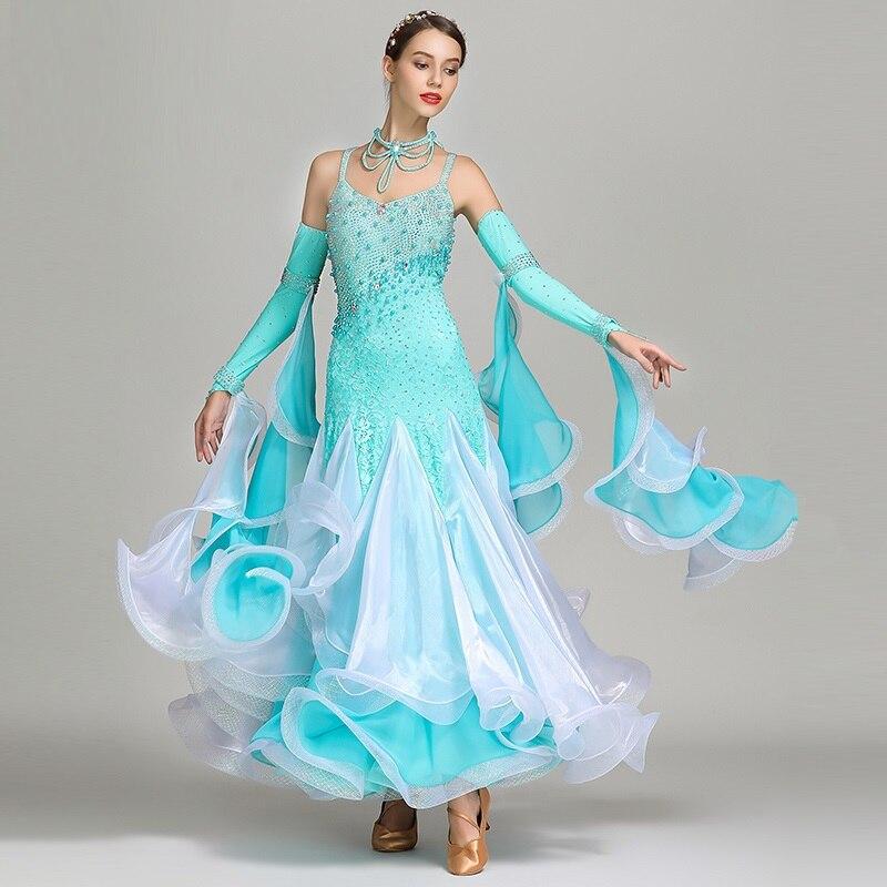 Синий Блестки Стандартный бальное платье женщины Бальные танцы Конкурс платья танцевальная одежда женщина современный танцевальный костю