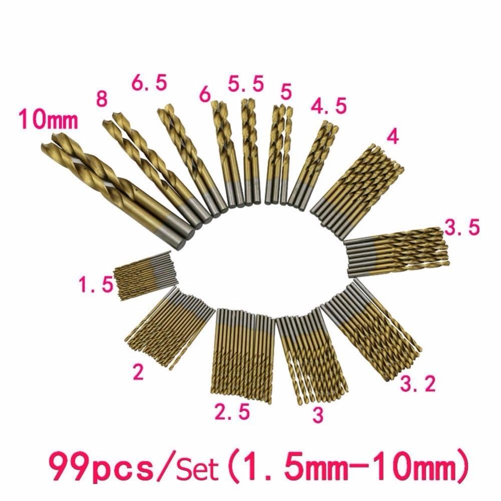99 Pcs1.5mm -10mm Steel wood plastic Titanium Twist Drill / Straight Shank Drill Bit 99