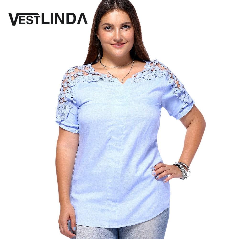 Vestlinda Women Oversize Summer Fashion Blouse Plus Size