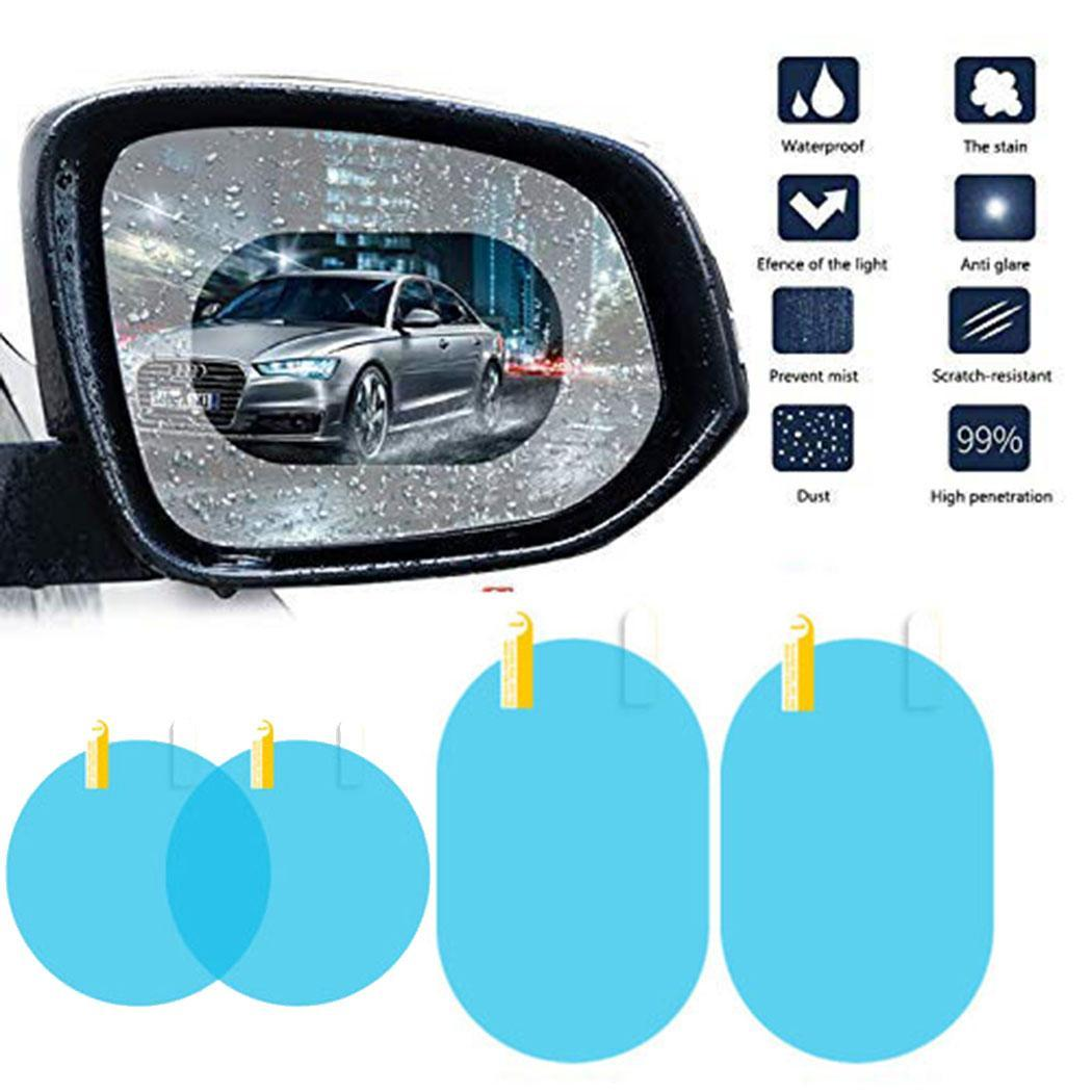 1 Pair Car Rearview Mirror Film HD Transparent Nanofilm With Round, Oval Installation Tool