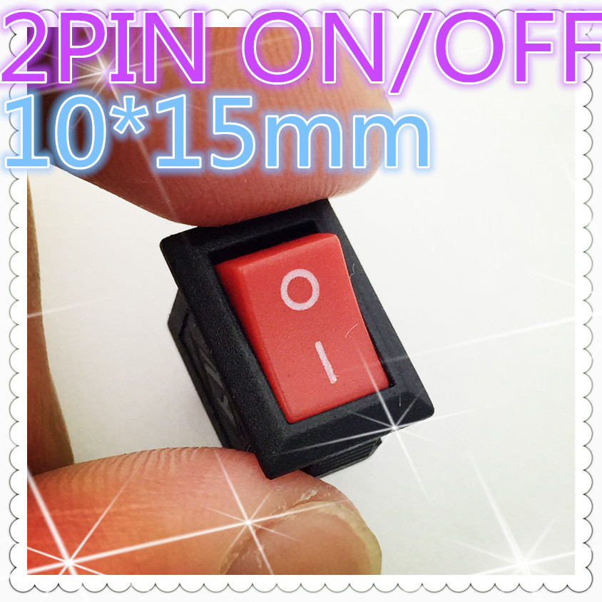 10pcs G125 RED 10*15mm SPST 2PIN ON/OFF  Boat Rocker Switch 3A/250V Car Dash Dashboard Truck RV ATV Home Sell At A Loss USA 10pcs ac 250v 3a 2 pin on off i o spst snap in mini boat rocker switch 10 15mm