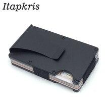 Углерода волокно Металл кредитной держатель для Карт Rfid кошелек Блокировка портативный ID Card Case для мужчин Алюминий клип карман порте Carte