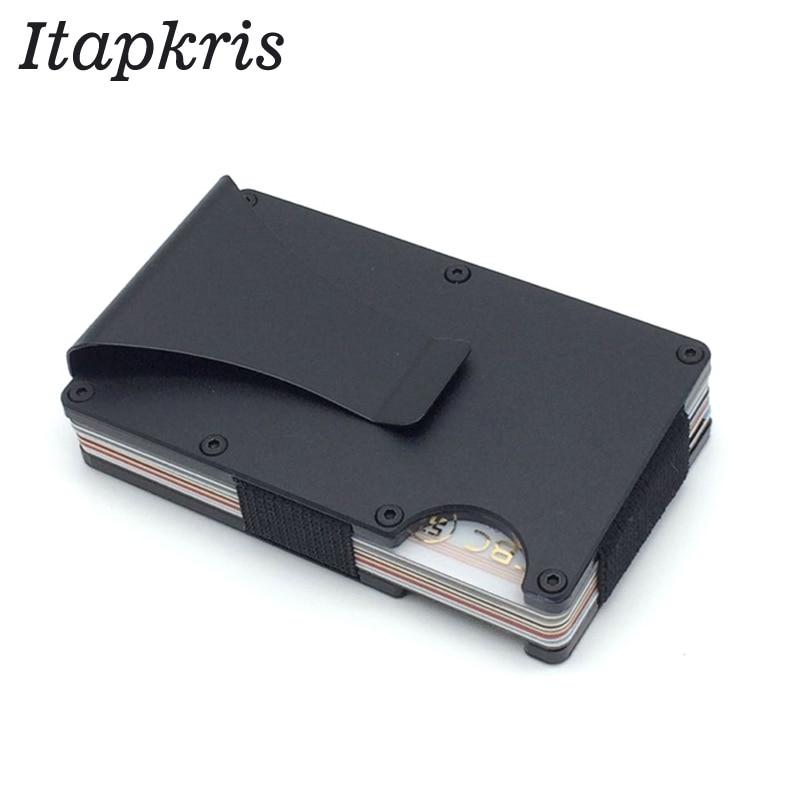 Fibra de carbono del Metal tarjeta de crédito Rfid billetera bloqueando ID portátil hombres caja aluminio bolsillo Porte Carte