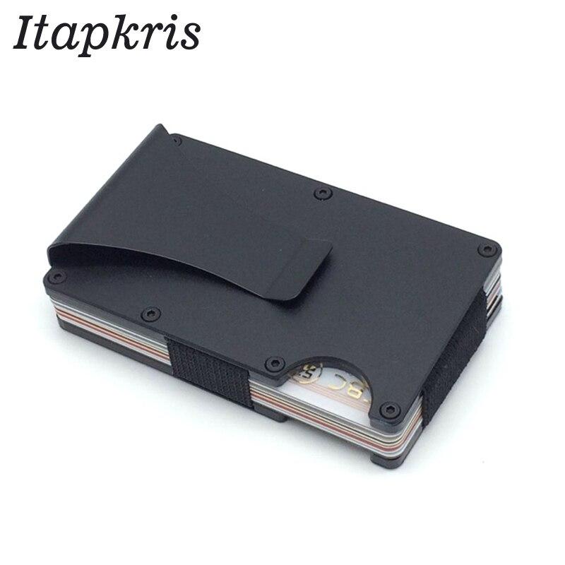 Fibra de carbono metal titular do cartão de crédito rfid carteira bloqueio caso de cartão de identificação portátil masculino clipe de alumínio bolso porte carte