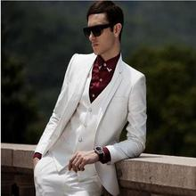 Classic Style Ivory Groom Tuxedos Groomsmen Men's Wedding Prom Suits Bridegroom (Jacket+Pants+Vest+Tie) K:915