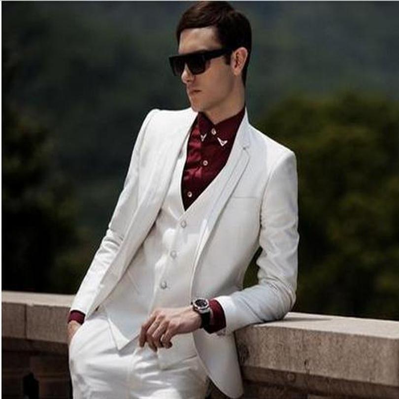 Classic Style Ivory Groom Tuxedos Groomsmen Men's Wedding Prom Suits Bridegroom (Jacket+Pants+Vest+Tie) K:915