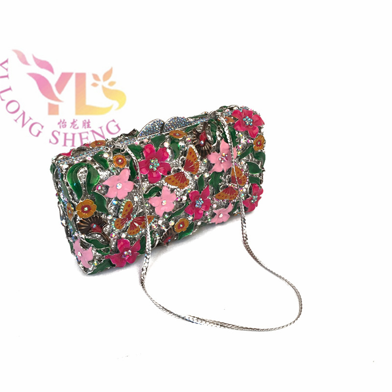 Flower Handbags Clutches Women Evening Bags Handmade Rhinestone Event/Party/Clutches Bag Four Colors Available YLS-F37