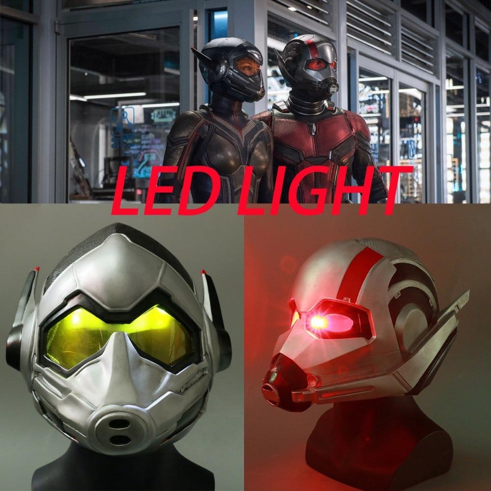 2018 LED Ant Man Helmet Cosplay Ant-Man and The Wasp Superhero LED Mask Latex