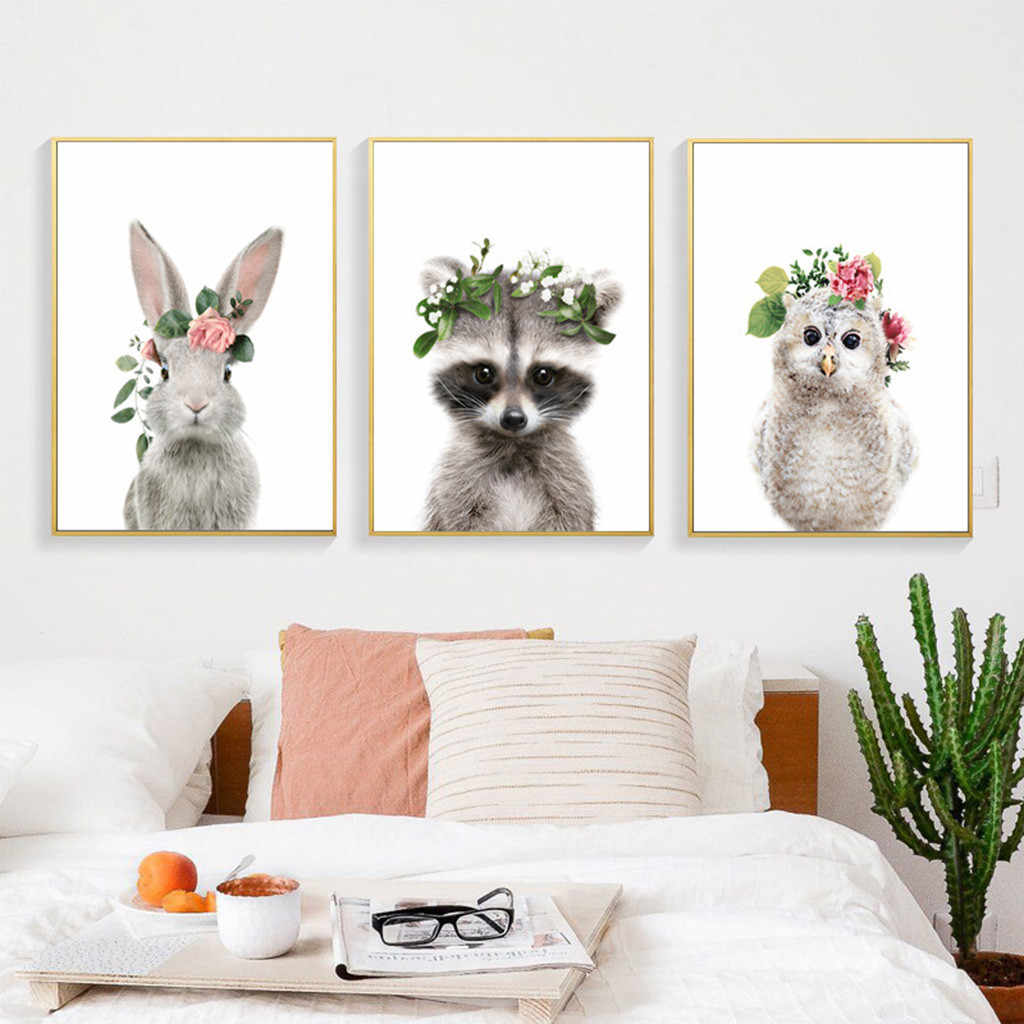 2Pcs Painting Nordic Poster Green Wall Painting Art Canvas Animal Home Children's Room Decoration Picture Frame 13x18cm Z502